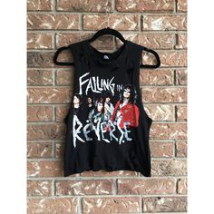 FALLING IN REVERSE tank top, concert shirt band tee, cropped tank,... ($20) ❤ liked on Polyvore featuring tops, t-shirts, shirts, i heart shirts, i love t shirts, checked shirt, t shirt and checkered crop top