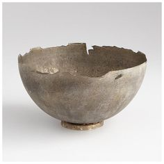 Pompeii Whitewashed Medium Bowl - This item is made out of iron - Finished in a whitewashed finish. - Care Instructions: Wipe with a soft, dry cloth Cyan Design - 07959 Ceramic Bowls, Ceramic Pottery, Ceramic Art, Slab Pottery, Thrown Pottery, Pottery Bowls, Home Decor Accessories, Decorative Accessories, Modern Decorative Bowls