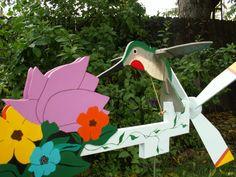 Hummingbird with Flower Whirligig Bird by JHWoodcraft on Etsy, $95.00