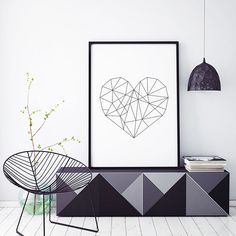 Plakat: Geometryczne serce Design, Home Decor, Decoration Home, Room Decor, Home Interior Design, Home Decoration, Interior Design