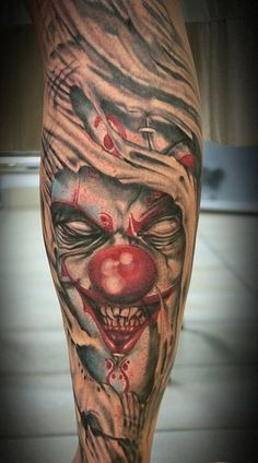 Ripped Skin Joker Clown Tattoo Design: Real Photo Pictures Images ...