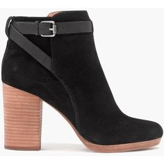 MADEWELL The Aimee Ankle Boot ($215) ❤ liked on Polyvore featuring shoes, boots, ankle booties, ankle boots, true black, black platform boots, black bootie, faux suede booties, black high heel booties and suede booties