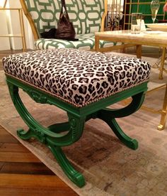 Currey and company emerald green and leopard Exmoor bench