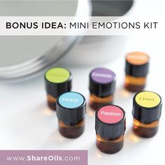 We have stickers sample vials and a cute tin for packaging up mini emotions kits! These would be an awesome give away or enrollment incentive. by shareoils