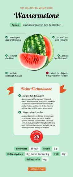 Das solltest du über Wassermelone wissen   eatsmarter.de #wassermelone #infografik #ernährung