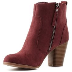 Charlotte Russe Burgundy Madden Girl Chunky Heel Booties by Madden... (€64) ❤ liked on Polyvore featuring shoes, boots, ankle booties, block heel booties, short boots, chunky heel boots, burgundy booties and sexy booties