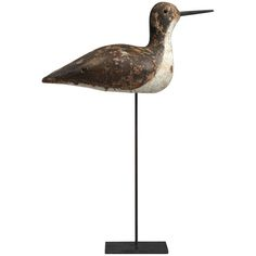 Unusual Early Working Shorebird Decoy | From a unique collection of antique and modern decoys at http://www.1stdibs.com/furniture/folk-art/decoys/