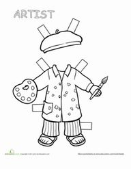 Paper dolls coloring pages are a great way for kids to use their imaginations. Browse our selection of paper dolls printables and find your favorites. Preschool Art, Preschool Activities, Art Handouts, Community Helpers Preschool, Community Workers, Social Studies Worksheets, Paper Dolls Printable, Art Classroom, Kids Education
