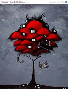 Tree House Fantasy Art Print - For the rest of our days by Jaime Best - 8X10