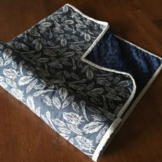 Modern Minky Baby Blanket with Feathers on Navy by FunkyBabyShop