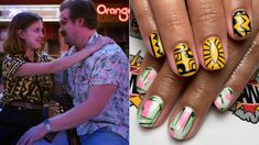Sarah Kane, a nail artist at Portland nail salon Finger Bang, shared a photo of a manicure she she on a client that was inspired by the shirts David Harbour and Millie Bobby Brown wear in season 3 of Stranger Things. Millie Bobby Brown, Simple Nail Designs, Nail Art Designs, Ring Finger Nails, Nail Art For Beginners, Tribute, Eleven Stranger Things, Halloween Nail Art, Dream Nails