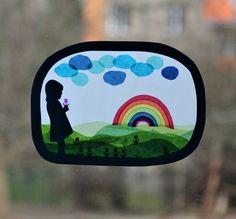 Průsvit do okna - Holčička s duhou Techno, Crafty, Silhouettes, Diy, Activities, Paper, Lantern, Painted Canvas, Mother's Day