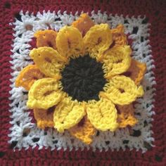 "Ravelry: 12"" Sunflower Afghan block by Abigail Bailey"