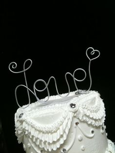 Whimsical LOVE wire Wedding Cake Topper  with Heart   Free Standing Table Decoration. $16.00, via Etsy.