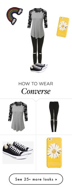 """""""going to see busted tonight in Glasgow :)"""" by caitlincatastrophe95 on Polyvore featuring Topshop, LE3NO, Converse, Kate Spade and Hipstapatch"""