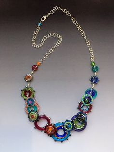 Spirograph Glass: handmade glass lampwork beads with sterling silver components by alyssa Glass Necklace, Glass Jewelry, Wire Jewelry, Beaded Jewelry, Glass Beads, Jewelery, Handmade Jewelry, Beaded Necklace, Necklaces