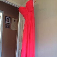 PLAIN HOT PINK LONG PROM DRESS worn once, great condition, taken in a little, not hemmed, tight on chest, the rest just flows, not jovani just want more attention brought to it! Jovani Dresses