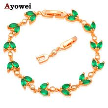 US $6.21     Buy Jewelry At Wholesale Prices!     FREE Shipping Worldwide     Get it here ---> http://jewelry-steals.com/products/peridot-leaves-design-aaa-zircon-bracelets-for-women-gold-color-green-crystal-fine-fashion-jewelry-for-party-tb832a/    #fashion