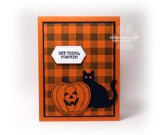 We didn't get to share this Halloween cat card yesterday on our live streams because Ann didn't make it until last night. Gotcha, didn't I! Fall Cards, Holiday Cards, Valentine Cards, Christmas Cards, Card Making Inspiration, Making Ideas, Pumpkin Cards, Paper Pumpkin, Up Halloween