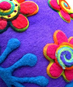 Purple flower cushion recycled renewable resource