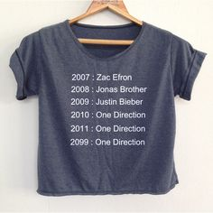 Crop 1 Direction Shirt 1d Tunic One Direction Shirt Women's Clothing... (€12) ❤ liked on Polyvore