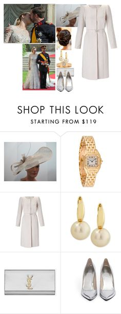 """""""Flashback #:Attending the wedding of Guillaume, Hereditary Grand Duke of Luxembourg, and Countess Stéphanie de Lannoy"""" by royal-thefashionsii ❤ liked on Polyvore featuring Elie Saab, Cartier, Monsoon, Belpearl, Yves Saint Laurent, Stuart Weitzman, women's clothing, women's fashion, women and female"""