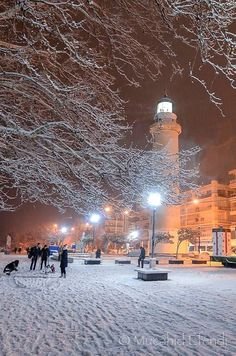 Alexandroupoli city at winter night, Thrace, Greece Samos, Corfu, Winter Wallpaper, A Moment In Time, Winter Night, Ancient Greece, Athens, Lighthouses, City