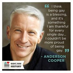 Anderson Cooper- explains his own opinion of gay pride. Its a Lesson that people ought to know its a blessing. Lgbt Quotes, Lgbt Rights, Human Rights, Equal Rights, Anderson Cooper, Same Love, Rainbow Pride, A Blessing, Gay Pride