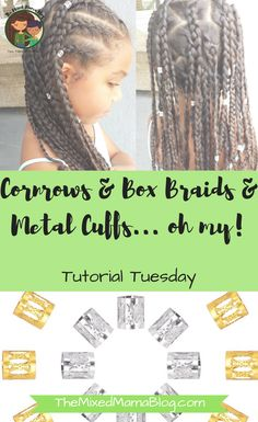 Simple and beautiful protective style for your naturally curly kid using cornrows, box braids, and metal cuffs. Give it a try today! Mixed Kids Hairstyles, Popular Short Hairstyles, Natural Hairstyles For Kids, Kids Braided Hairstyles, Teenage Hairstyles, Curly Hairstyles, Haircut Styles For Women, Short Haircut Styles, Hair Styles