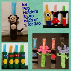 Ice Pop Holders  variety of styles by LittleDebiSnack on Etsy, $3.50
