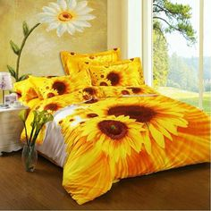 Bright Yellow Orange and White Sunflower Print Cotton Full, Queen Size Bedding Sets Bed Comforter Sets, Queen Bedding Sets, Bed Duvet Covers, Girl Bedding, Sunflower Home Decor, Sunflower Room, White Sunflower, Sunflower Print, Sunflower Bathroom