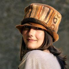 caramel felt hat Ooak hat fiber art hat merino wool hat by jannio, $85.00