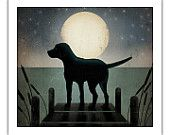MADE TO ORDER Black Dog (Yellow, Brown, Red too) Canoe Company Giclee Print 16x16 inches Signed. $59.00, via Etsy.