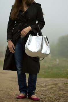 silver leather hobo