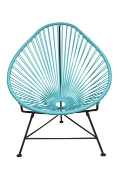 <p>The Acapulco Chair - contemporary lounge or occasional chair suitable for indoors and out. Composed of a tripod metal base and seat woven with vinyl cord. The Acapulco chair is similar in construction and form to our Innit chair though slightly more reclined with a pear shaped frame. The galvanized steel is rust resistant and the very durable yet flexible, UV protected vinyl will stay colorfast for years. This chair is incredibly comfortable without a cu...