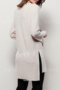 V-Neck Side Slit Sweater Dress back view @ zaful.com $16