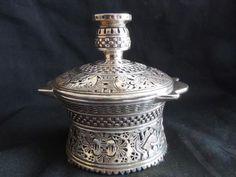 Antiek zilver Potje + deksel + mythologische afbeeldingen