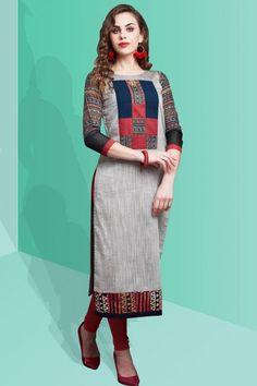 Multicolor Cotton Silk Applique Embroidered Designer Kurti-WKR1179
