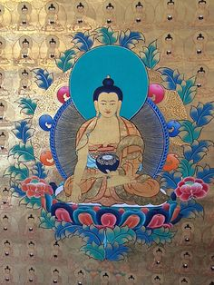 Beautiful Ratnasambhava Buddha surrounded by miniature buddhas. This painting is especially unique due to the extensive use of gold paint. The Ratnasambhava Buddha symbolizes richness and fertility.  #buddha #gold