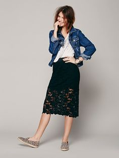 Free People Everything Rosey Pencil Skirt, Rs.4934.28