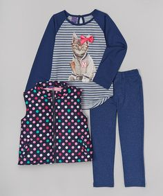 Look at this #zulilyfind! Pink & Blue Polka Dot Vest Set - Infant, Toddler & Girls #zulilyfinds