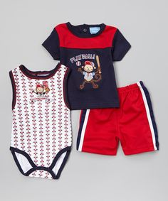 Look what I found on #zulily! Navy & Red 'Play Ball' Monkey Bodysuit Set - Infant by Duck Duck Goose #zulilyfinds