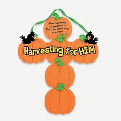 Pumpkin Cross Craft Kit, for church harvest party Bible Crafts For Kids, Halloween Crafts For Kids, Fall Crafts, Thanksgiving Crafts, Harvest Crafts For Kids, Jesus Crafts, Family Thanksgiving, Dyi Crafts, Thanksgiving Activities