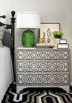 Melanie Turner - Beautiful nightstand vignette with Bernhardt Cabrillo Nailhead Chest, Street Antiques Market green lamp and amber vase. Bedroom Green, Home Bedroom, Bedroom Decor, Bedroom Table, Master Bedroom, Bedroom Black, Master Suite, Green Lamp, Transitional Bedroom