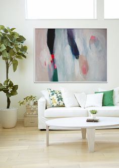 """ABSTRACT painting, Giclee, Fine Art Print, white painting, black, navy, modern painting """"Synth Pop Way"""""""