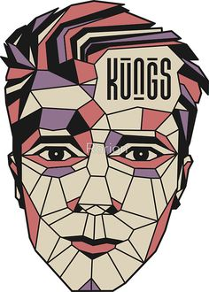 Kungs Pink polygon Face - shirt - dj - Deep house - Tropical house - festival by Rorion