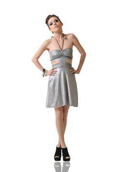 Shop A-Line Halter Mini Dress by Dominique Ansari now on nelou.com. Plus 5500 more designs.