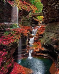 14 Beautiful Places Around the World - Rainbow Falls – Watkins Glen – New York, USA. Photo by Steve Perry Beautiful Waterfalls, Beautiful Landscapes, State Parks, Places To Travel, Places To See, Travel Destinations, Wonderful Places, Beautiful Places, Beautiful Forest