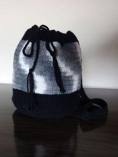 Bolsa de croche - mesclada- preto - branco e cinza