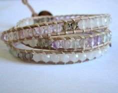 Faceted Fluorite White Jade and Crystal Beaded by KnotsAndWraps